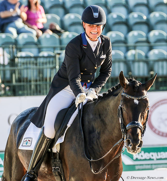 Adrienne Lyle and Salvino after completing the Grand Prix Special that clinched the Nations Cup for the United States. © 2018 Ken Braddick, Dressage-news