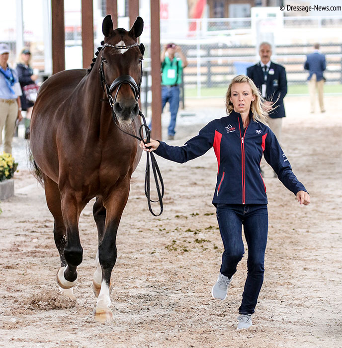Laura Graves trotou Verdades para a inspeção veterinária freestyle dos Jogos Equestres Mundiais, duas horas antes do vazamento da notícia de cancelamento © 2018 Ken Braddick dressage-news